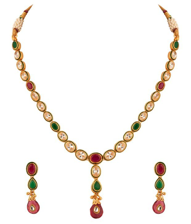 Voylla CZ And Faux Ruby Necklace Set