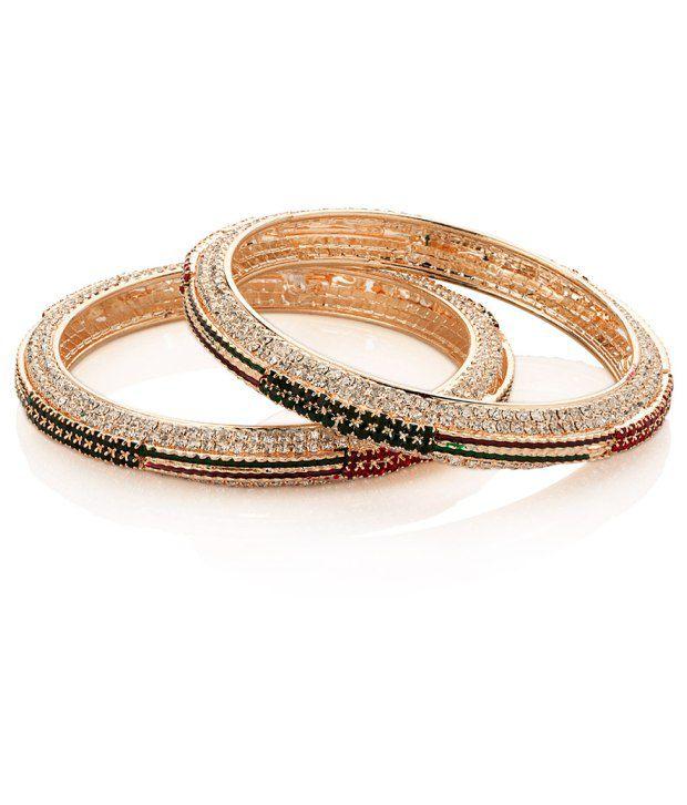 Voylla Gold Plated Cz Bangle Set With Stylish Design