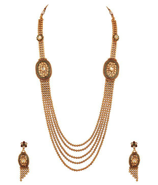 Voylla Golden Necklace With Golden Beads