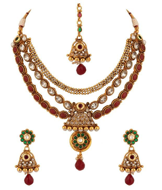 Voylla Red And White Stones And Bright Motif Necklace Set
