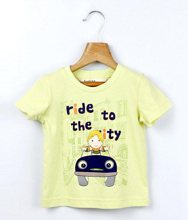 Beebay Half Sleeves Yellow Color Car Printed T-Shirt For Kids