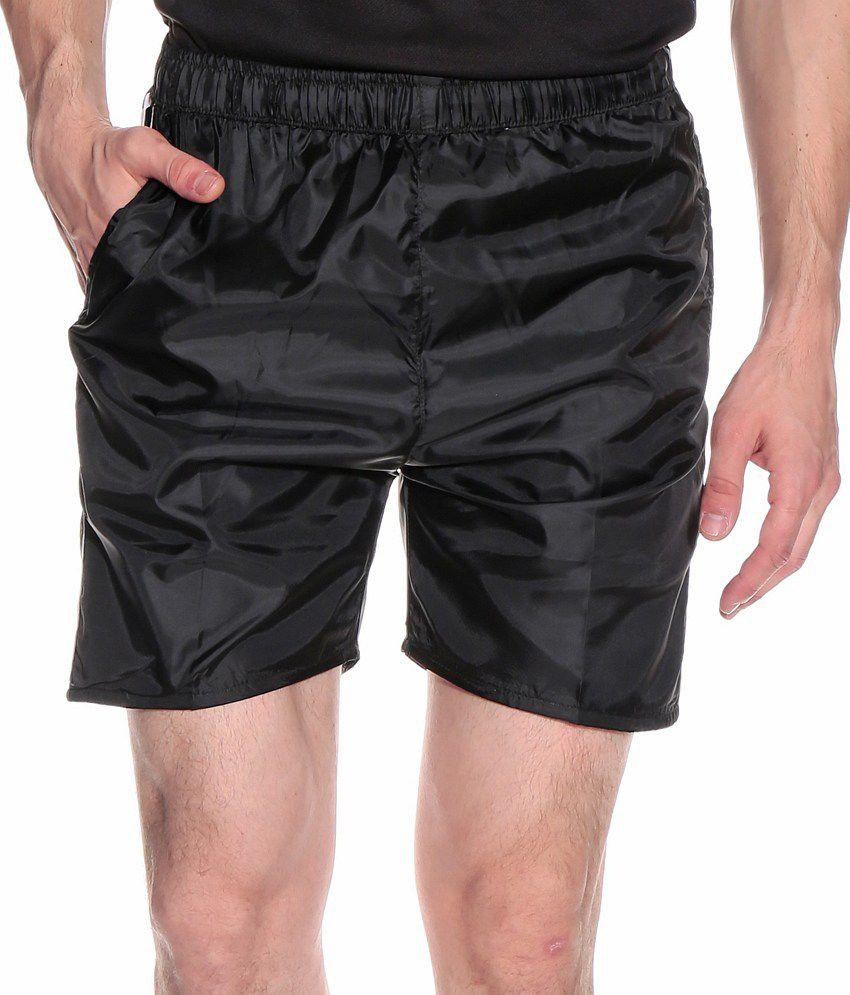 Fizzaro Black Polyester Solids Shorts