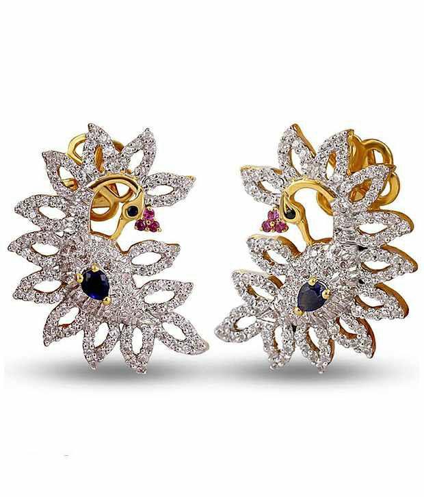 Shashvat Jewels 18KT Stylish Gemstone Peacock Stud Earrings