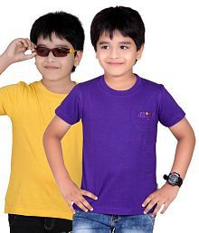 Dongli Pack of 2 Fashion Boys Multi Colors Half Sleeves T-Shirts