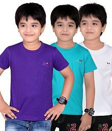 Dongli Pack of 3 Fashion Boys Multi Colors Half Sleeves T-Shirts
