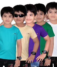 Dongli Pack of 5 Fashion Boys Multi Colors Half Sleeves T-Shirts