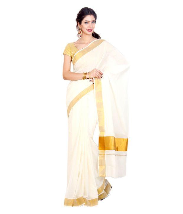 Fashion Kiosks White and Golden Cotton Kasavu Saree