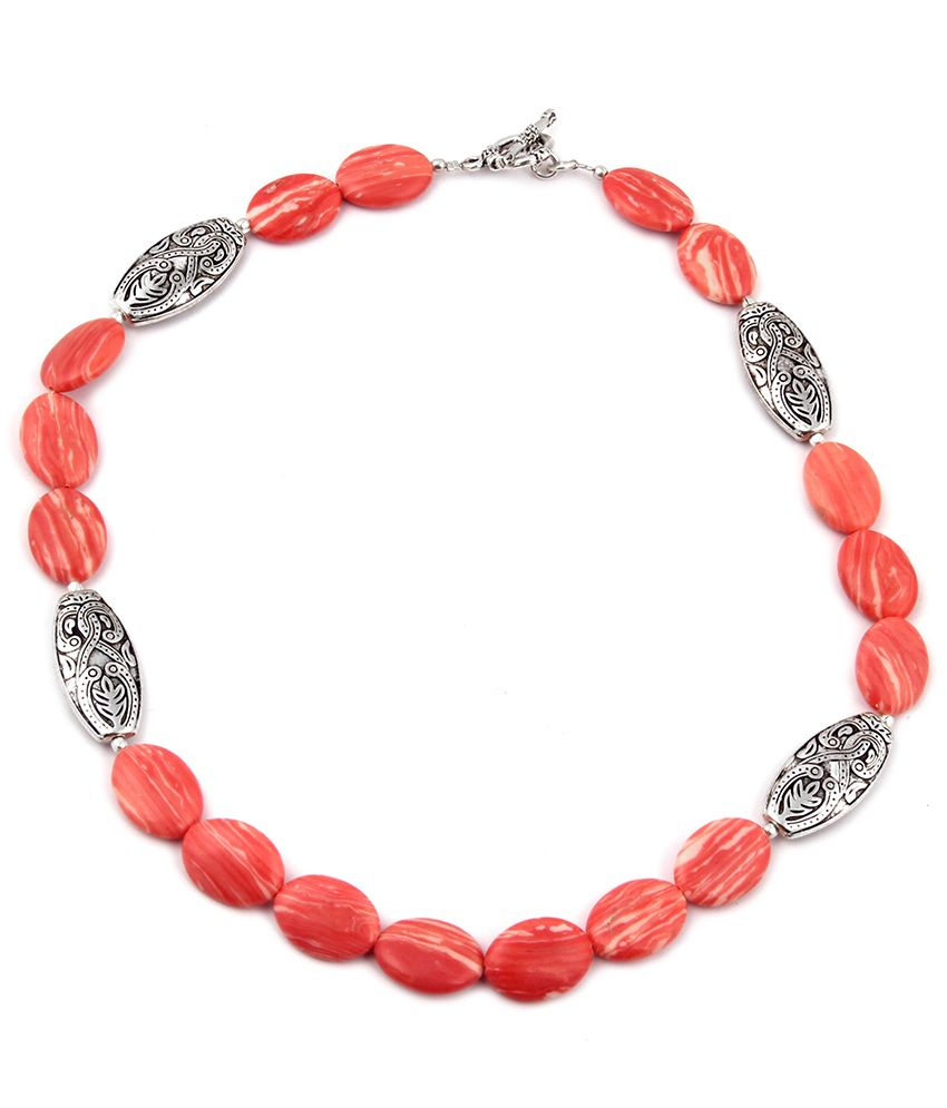 Pearlz Ocean Scarlet Diva Mosaic Beads 18 Inches Necklace