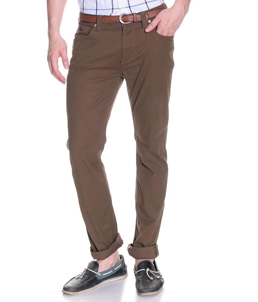 Pepe Jeans Brown Slim Semi Formals Flat