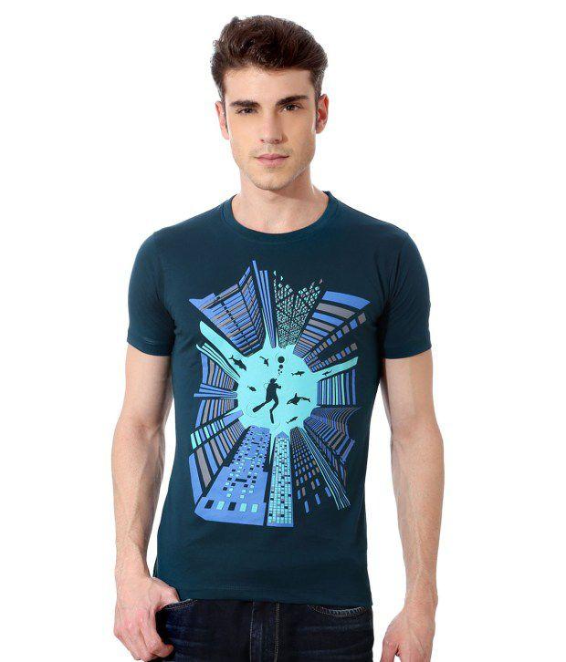 Peter England Blue Half Cotton Blend Round  T-Shirt