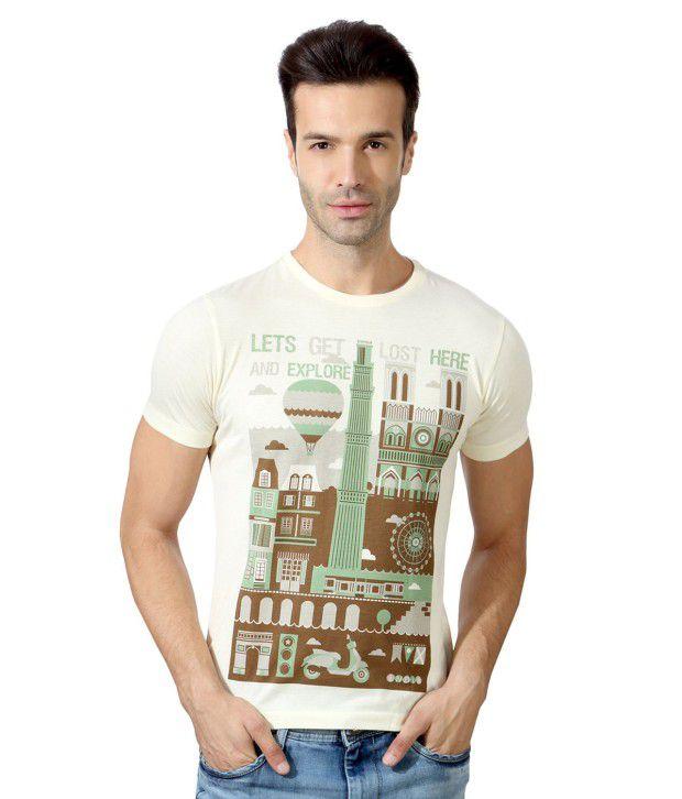 Peter England GhostWhite Half Cotton Blend Round  T-Shirt