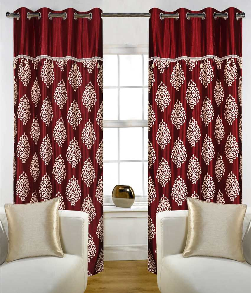 Home Candy Set Of 4 Door Eyelet Curtains Paisley Red Buy