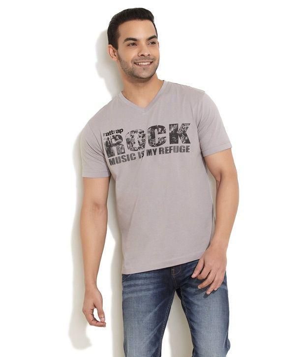 Rattrap Gray Half Cotton V-Neck T-Shirt