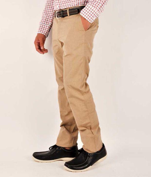 Allen Solly Cotton Trousers Khakhi Slim Fit