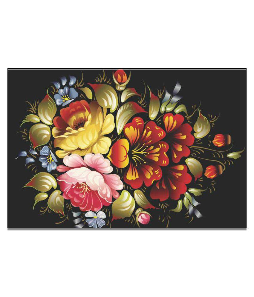 Finearts Multicolour Flowers Canvas Wall Painting