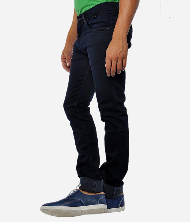Gesture Men Jeans With Lycra Black Slim Fit