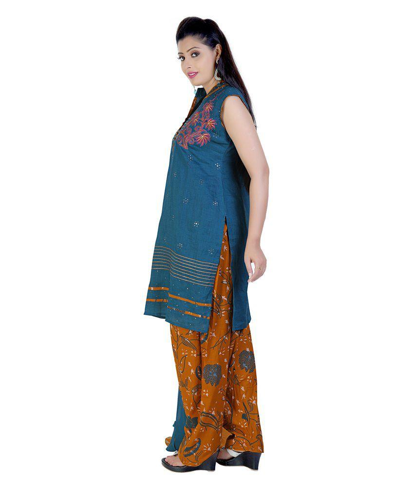 Mint Blue Cotton Salwar Suit
