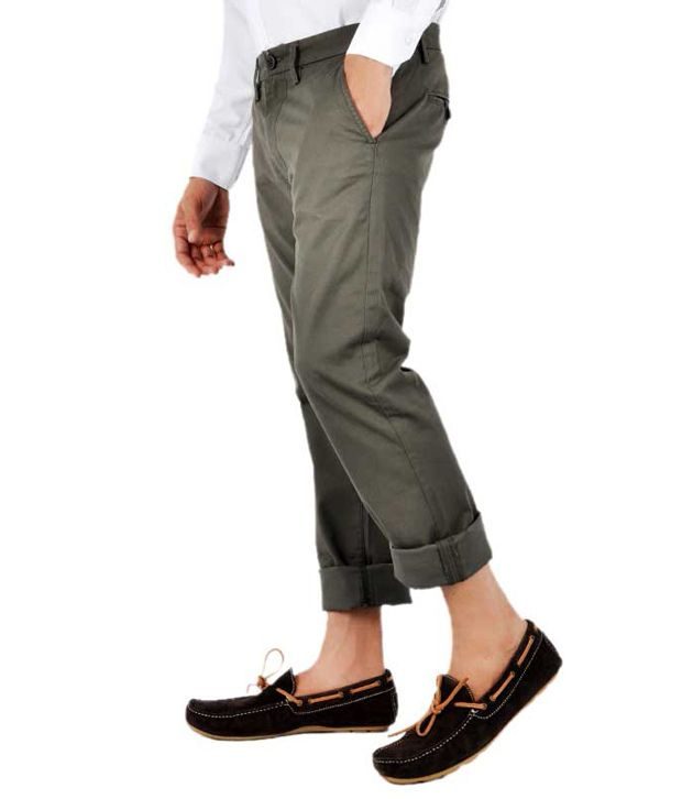 Pepe Jeans London Cotton Trousers Olive Slim Fit