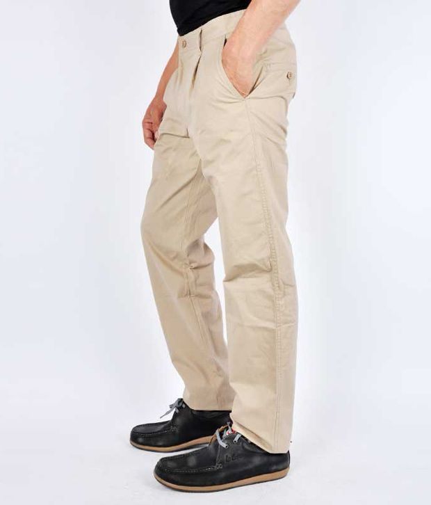 Van Heusen Cotton Trousers Khakhi Slim Fit