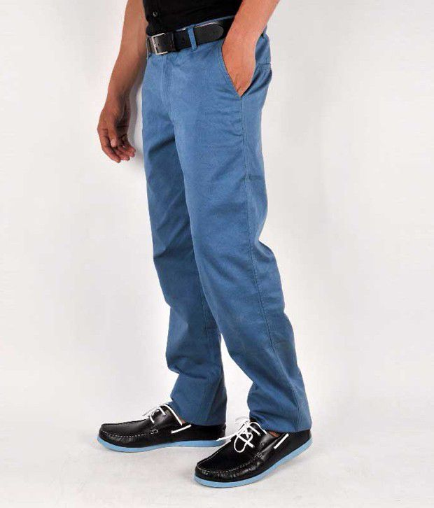 Wills Lifestyle Cotton Trousers Blue Slim Fit