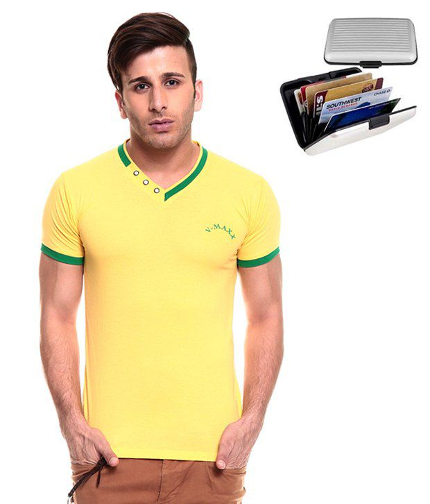Akaas Yellow Cotton T-shirt (with Card Holder Wallet)