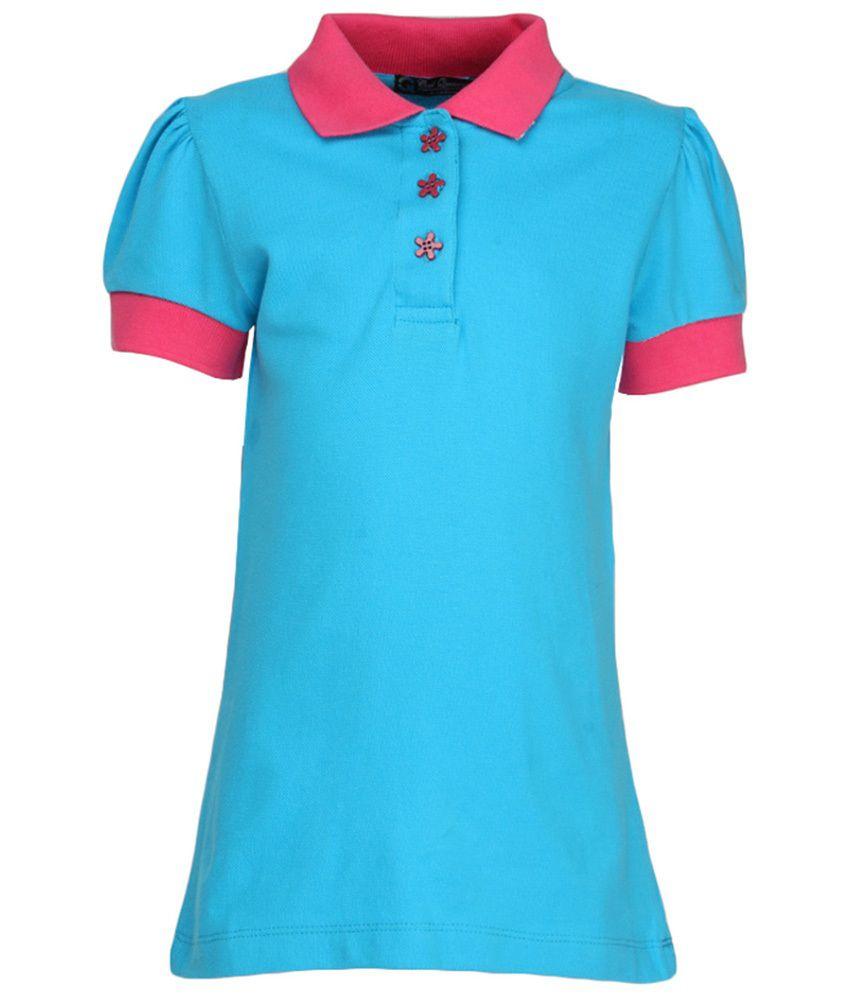 Cool quotient turquoise contrast color polo t shirt buy for Aqua blue color t shirt