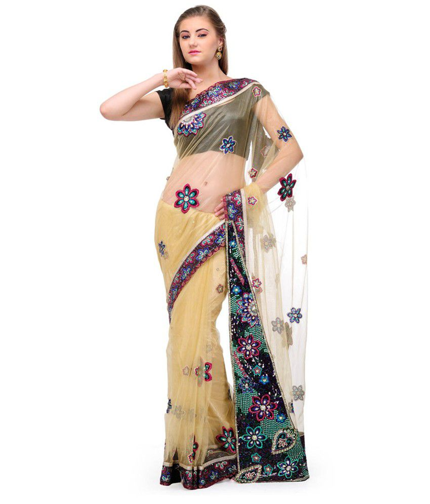 Fabroop Beige Embroidered Net Saree With Blouse Piece