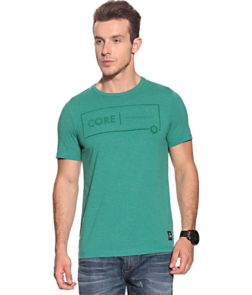 Jack & Jones Green Cotton  T-Shirt