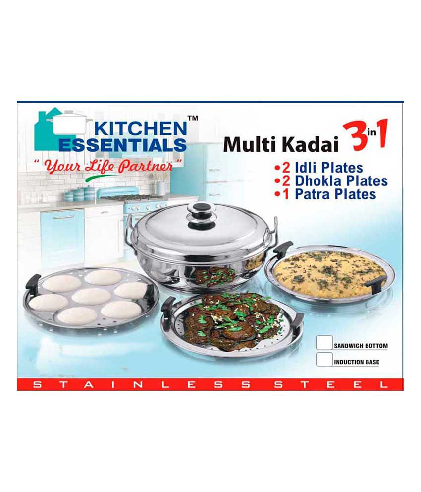 Kitchen essentials stainless steel multi kadhai buy for Snapdeal products home kitchen decorations
