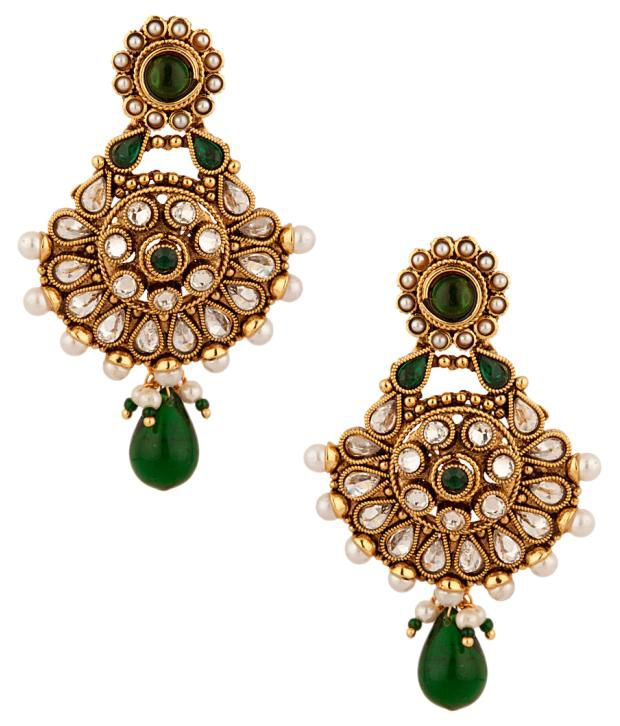Voylla Festive Dangler Earrings In CZ And Green Colored Stones