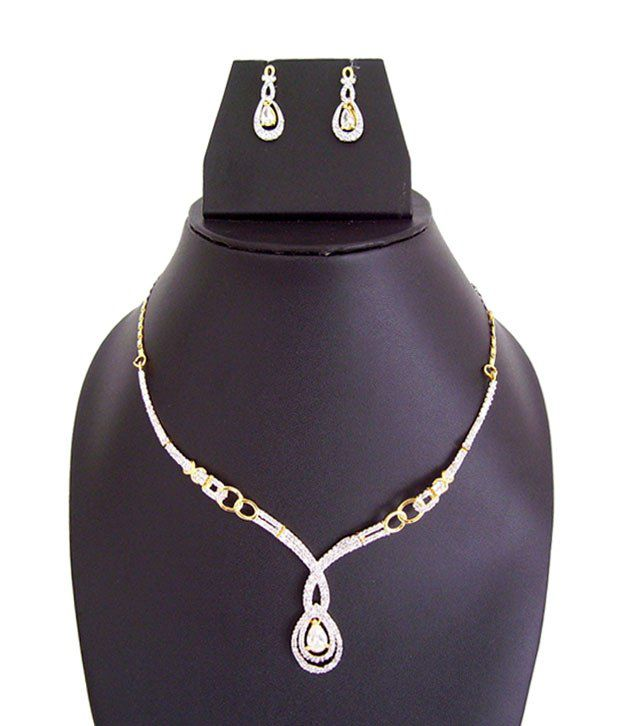 Apex Designer Cz American Diamond Necklace Set