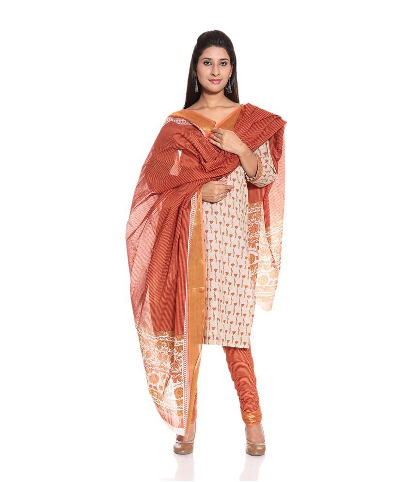 Desh Ki Mitti White Cotton Unstitched Dress Material