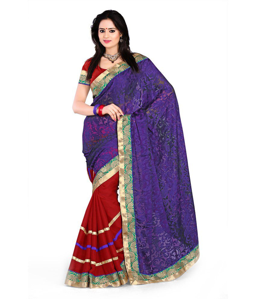 Fashion Founder Indian Designer Stylish Brasso Blue N Red Saree Buy Fashion Founder Indian