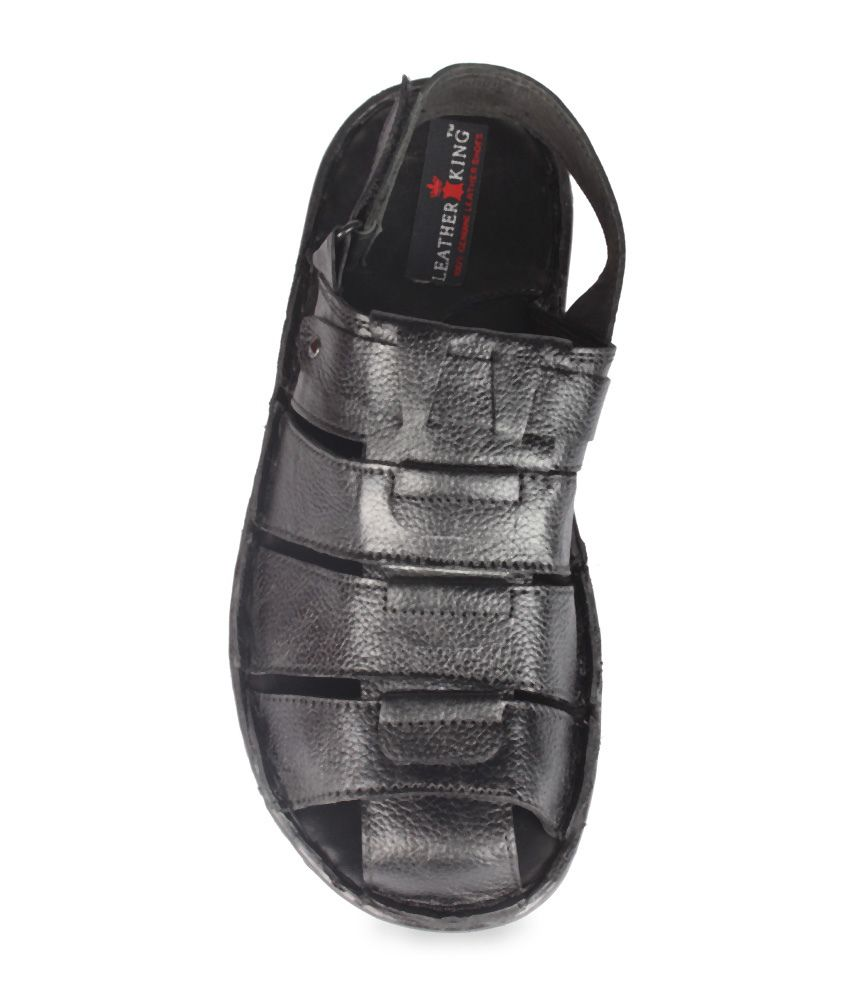 Leather King Black Fisherman Sandals Price in India- Buy Leather ... dd4f321fddc2