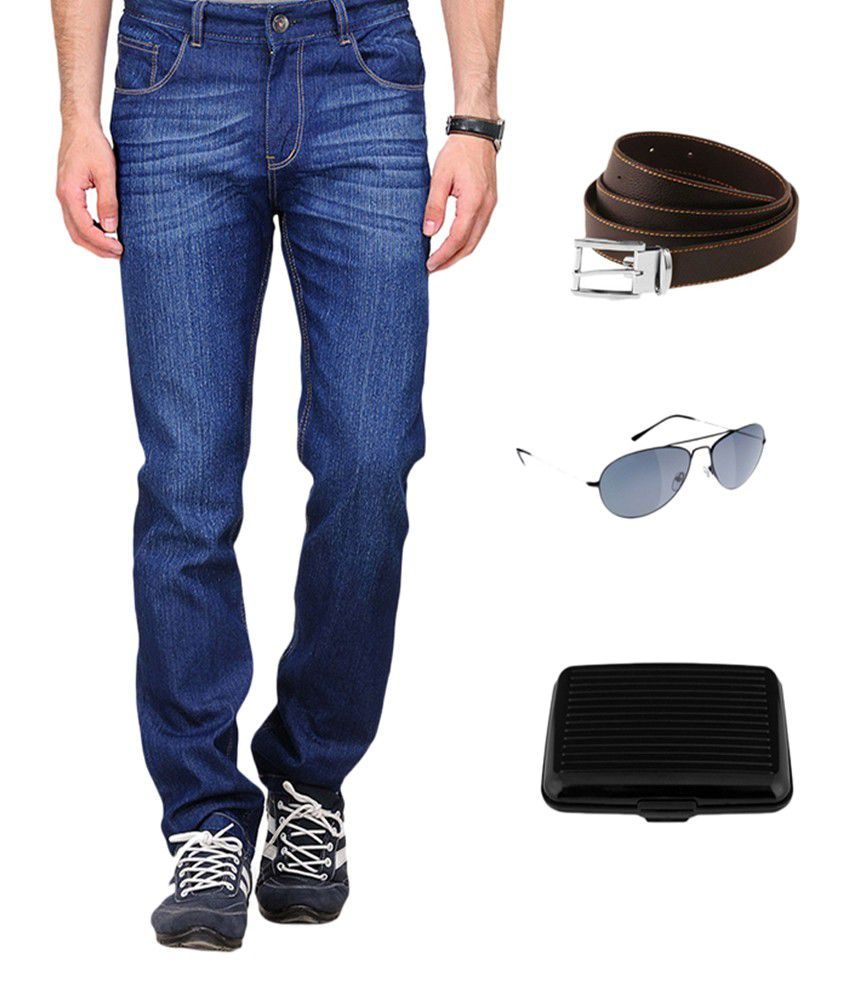 Red Snow Blue Regular Faded Jeans Free Wallet,Belt And Sunglasses