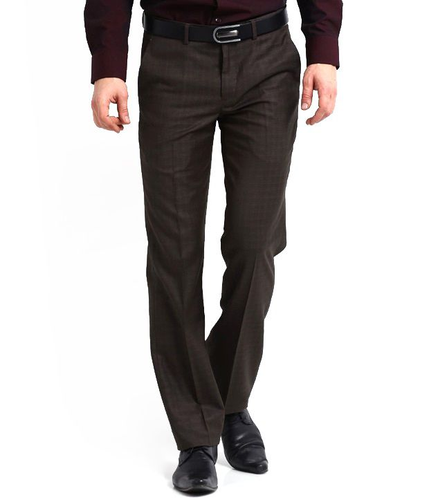 Whitetone Cotton Blend Brown Formal Trousers