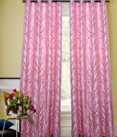 Rainbow Rainbow Natural Design Pink Eyelet Door Curtain