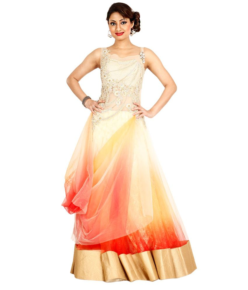 ecfc3e4aab Bawree Gold Sequinned Net Long Gowns - Buy Bawree Gold Sequinned Net Long  Gowns Online at Best Prices in India on Snapdeal