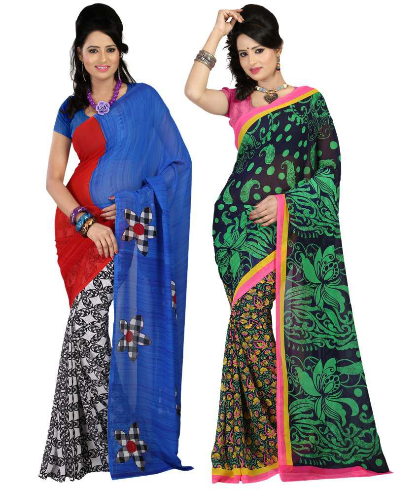 Bunny Sarees Dazzling Multi Colour Faux Georgette Pack of 2 Sarees