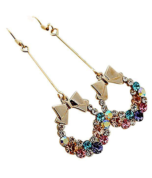 Cinderella Fashion Jewelry  Multicolor Rhinestone Earrings