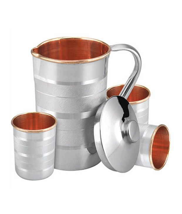 Copper Factory Beautiful Set Of Copper Steel Jug And 3 Glasses