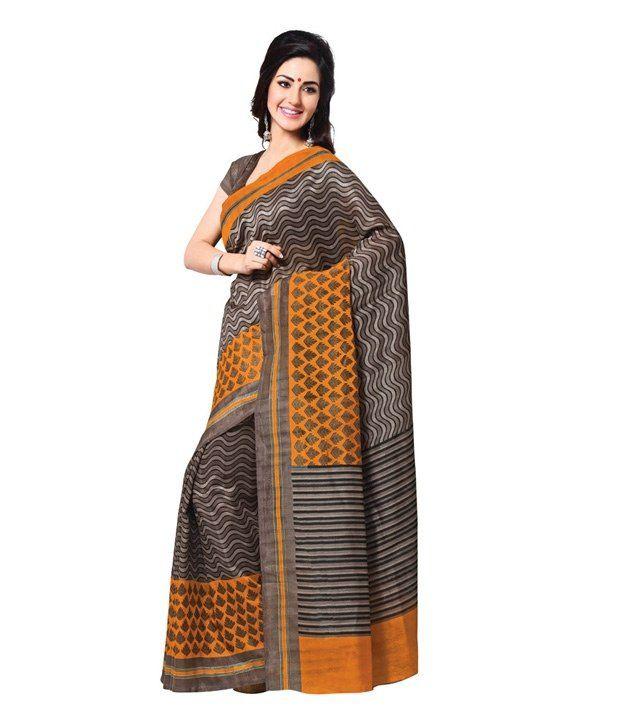 Fabdeal Brown Art Silk Saree