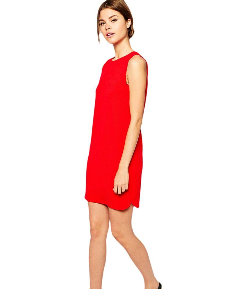 Maysa Red Shift Dress - Buy Maysa Red Shift Dress Online at Best ...