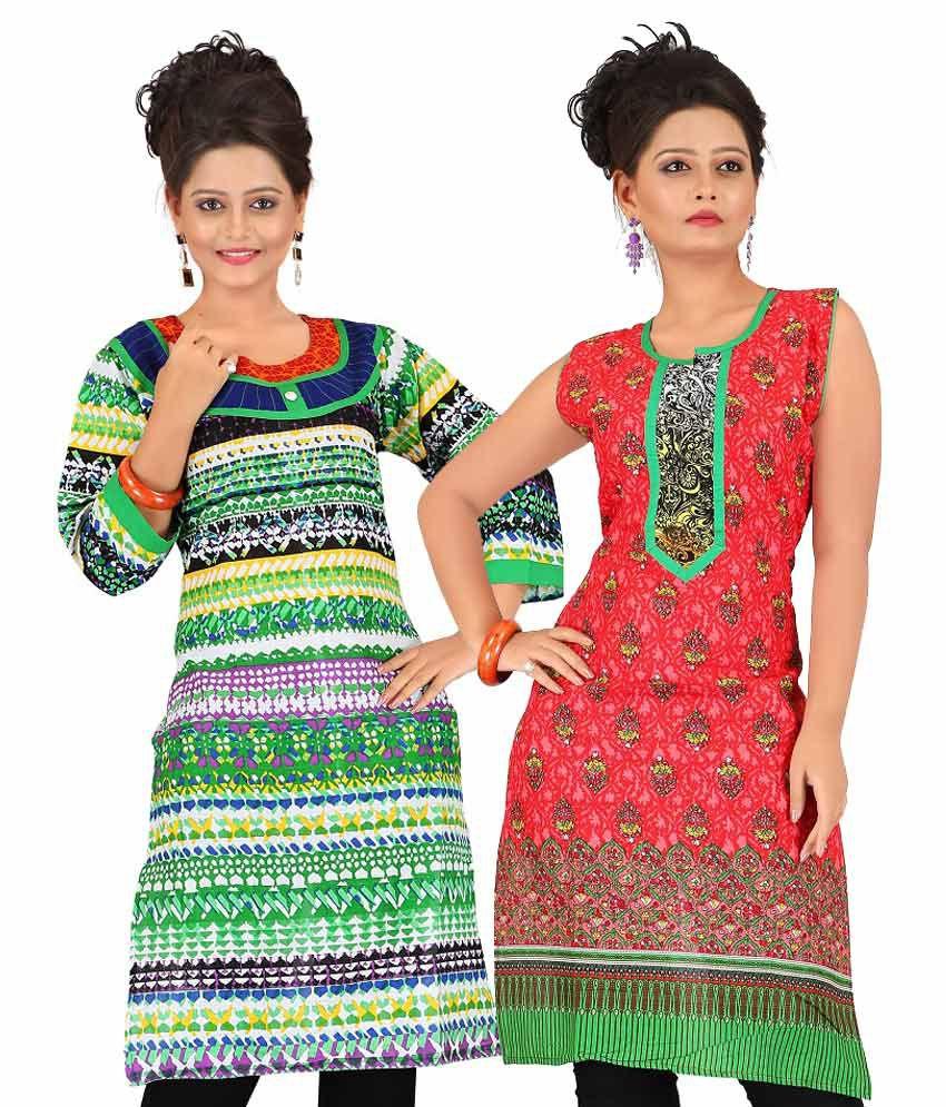 Pranjal Creations Combo Green & Red Kurties