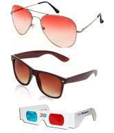 Hrinkar Combo Of Orenge Aviator Sunglasses + Brown Wayfarer Sunglasses + Free 3d Glasses ( Orenge Sunglasses ) ( Sun6050 )