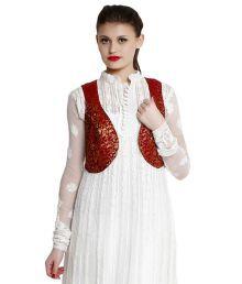 Indi Dori Maroon Poly Cotton Waistcoats