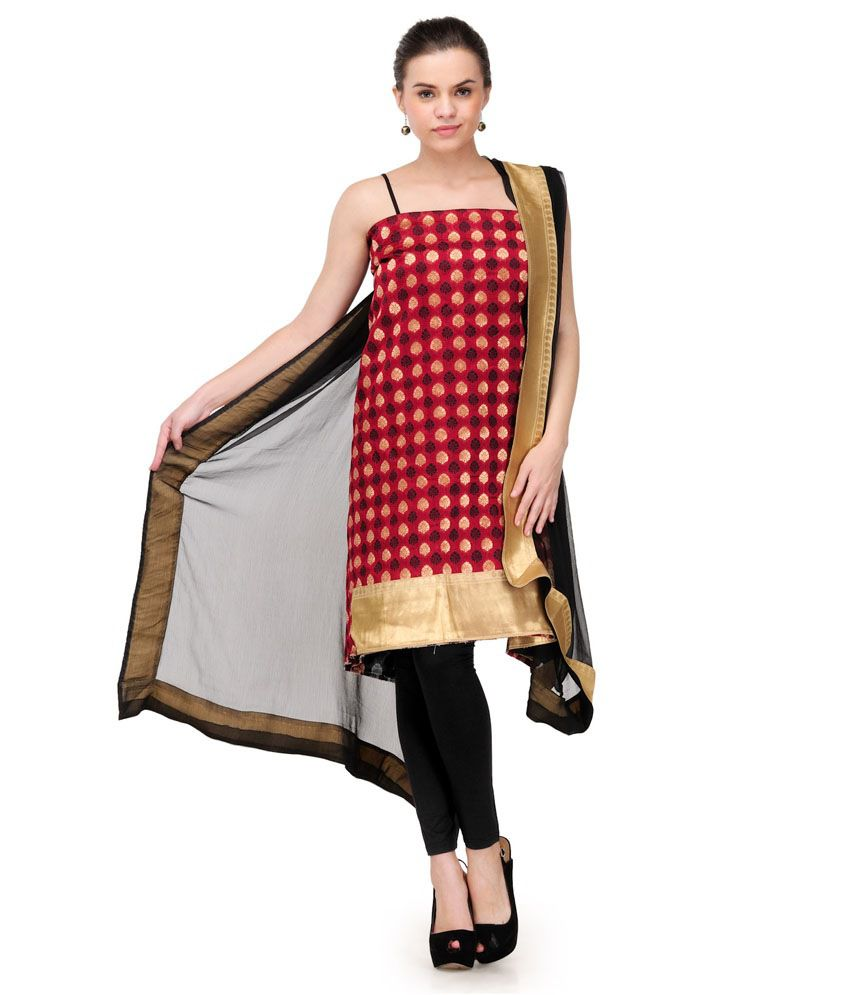 b2674a948c Gopika Red Chanderi Unstitched Dress Material - Buy Gopika Red Chanderi  Unstitched Dress Material Online at Best Prices in India on Snapdeal