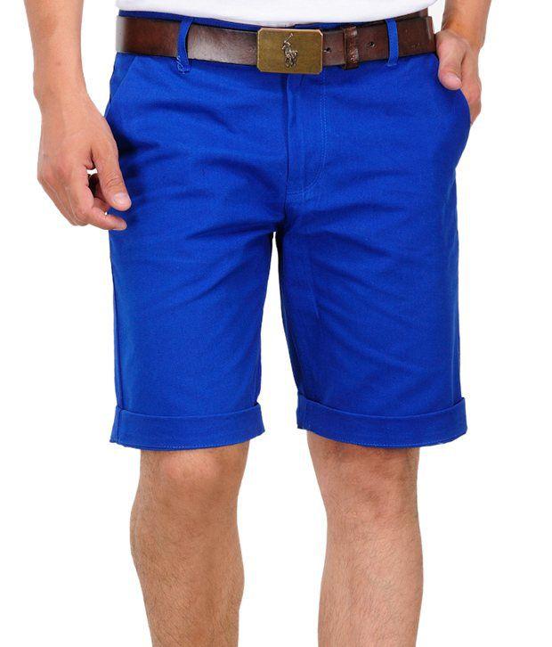 Phoenix Blue Cotton Solids Shorts