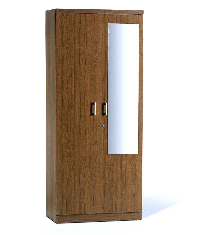 Spacewood Value Burma Teak 2 Door Wardrobe With Mirror
