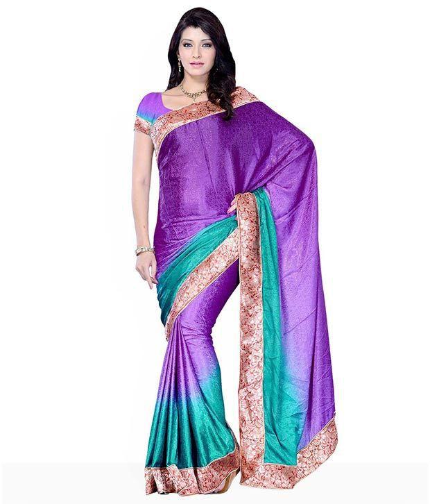 Diva Fashion Dark Purple Ombre Dyed Georgette Saree